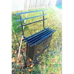 Скамейка металлическая с ящиком и со спинкой.