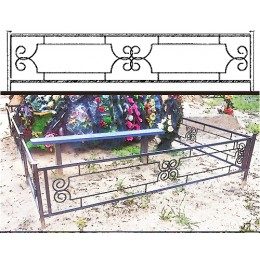 Ограды на кладбище металлические №13, привоз и установка на могилу.