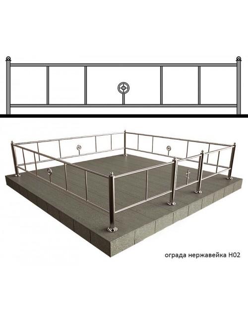 Заказать ограды изготовленные с использованием нержавейки № Н2, производство оградок.